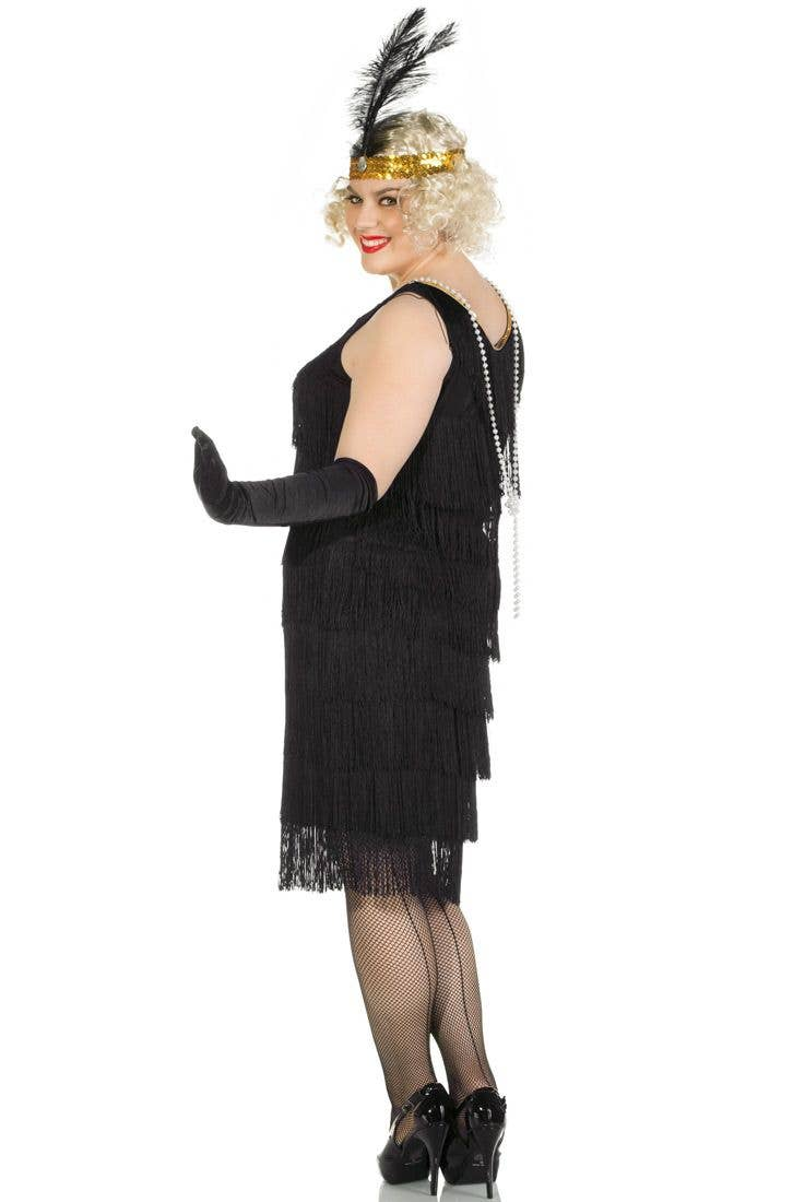 1a4db888faf16 Women's 1920's Plus Size Black Fringed Flapper Dress Back View