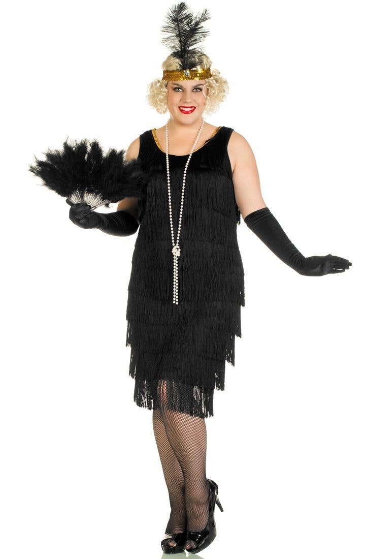 40afe5c85d4 Plus Size Women s Long Black Flapper Costume Front View ...