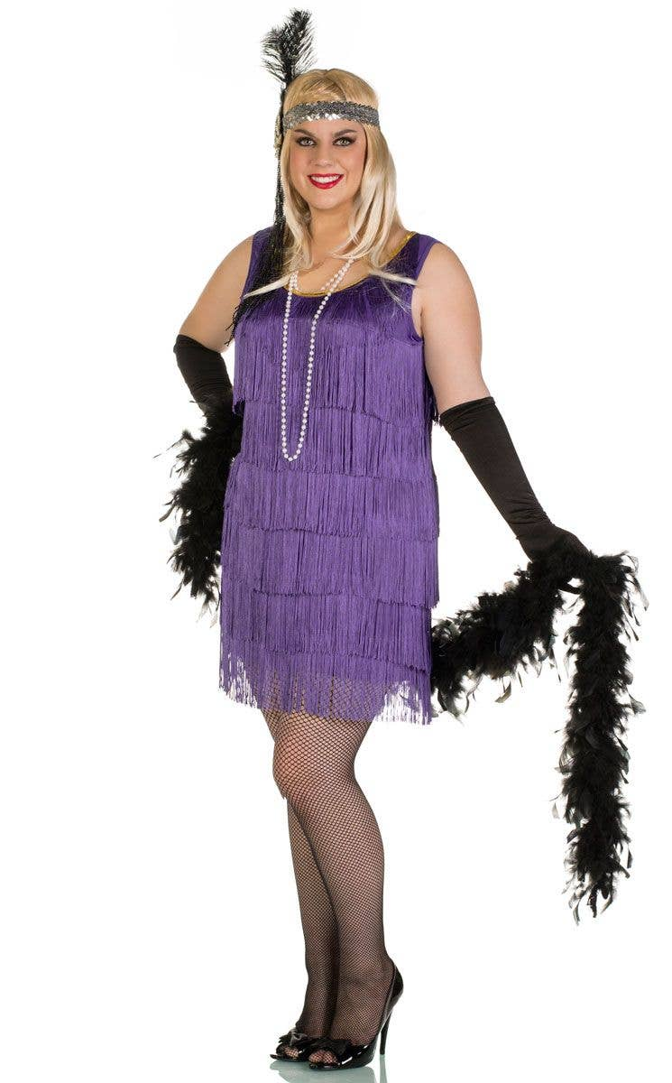 e522453ae78 Plus Size Women s Short Purple Flapper Costume Front View ...