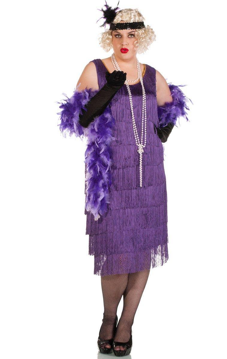 35af15741fd Women s Long Plus Size Purple Flapper Dress Front View ...