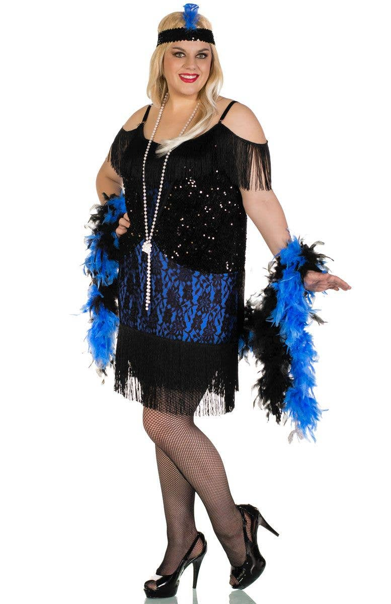 a27a741f44c Miss Elsie Plus Size Deluxe Black and Blue Women s Flapper Costume Front