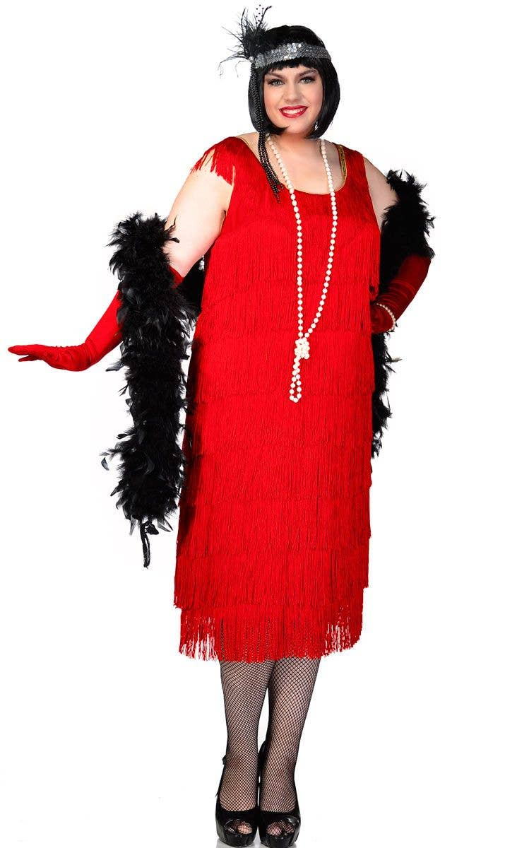 04e94988e27 Plus Size Long Deluxe Roaring Red Women s Flapper Costume Front View