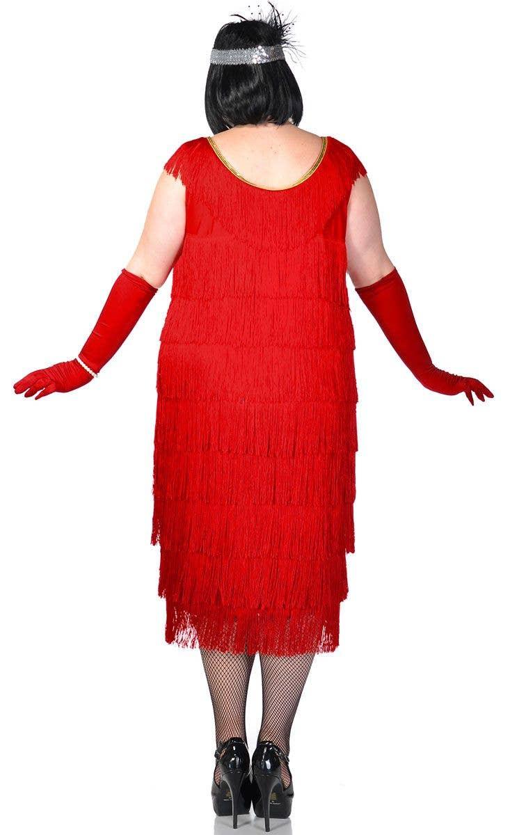 282658776ba Plus Size Long Deluxe Roaring Red Women s Flapper Costume Back View