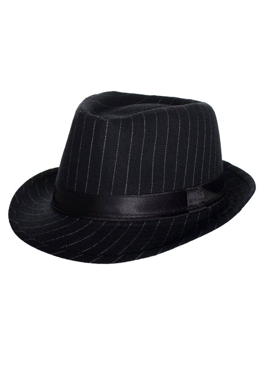 584df15a4d 1920's Women's Black Gangster Trilby Hat with White Pinstripes