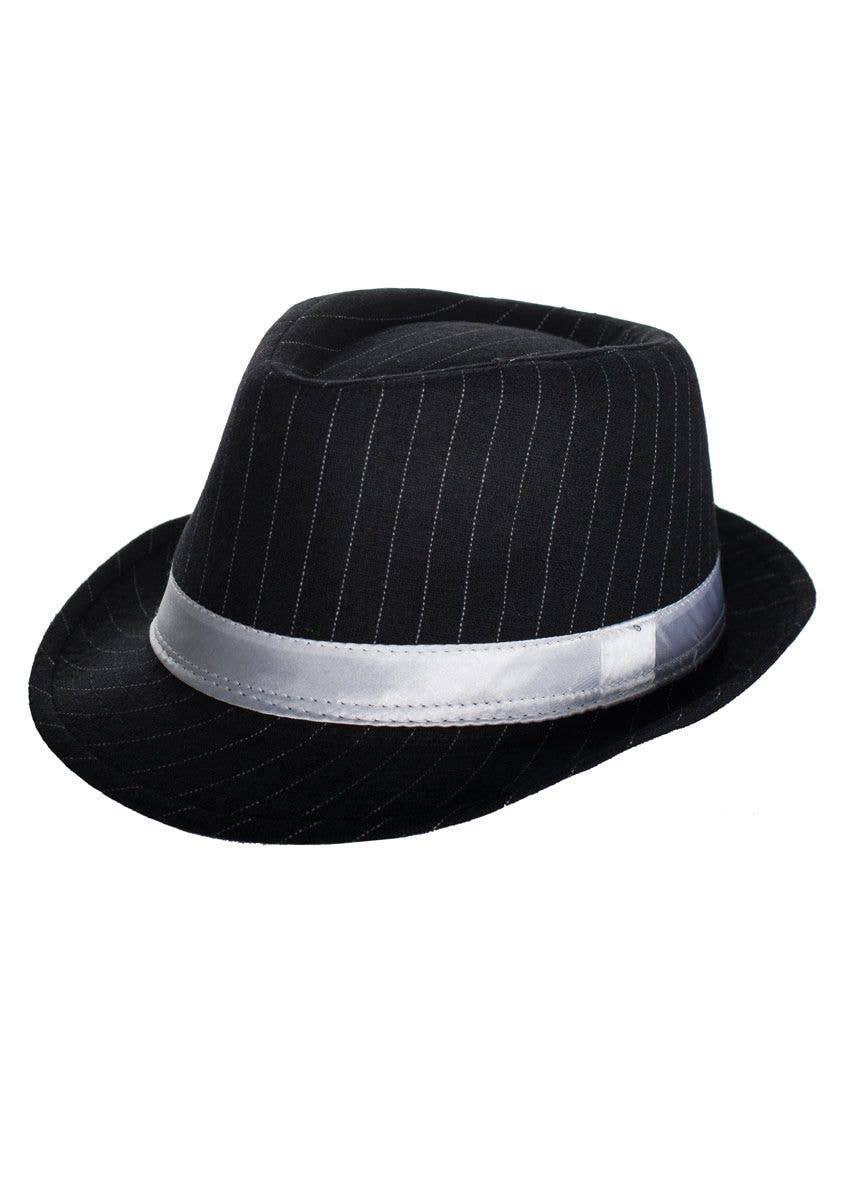 5a07381b09 1920's Women's Gangster Pinstriped Black Trilby Hat with White Band