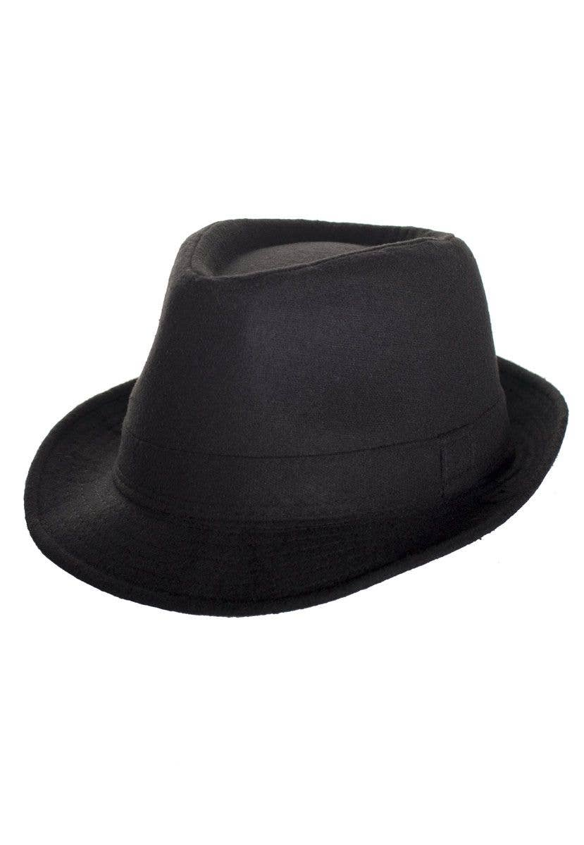Women-s Black Faux Wool Gangster Trilby Costume Hat View 2 b97bf9a06e9