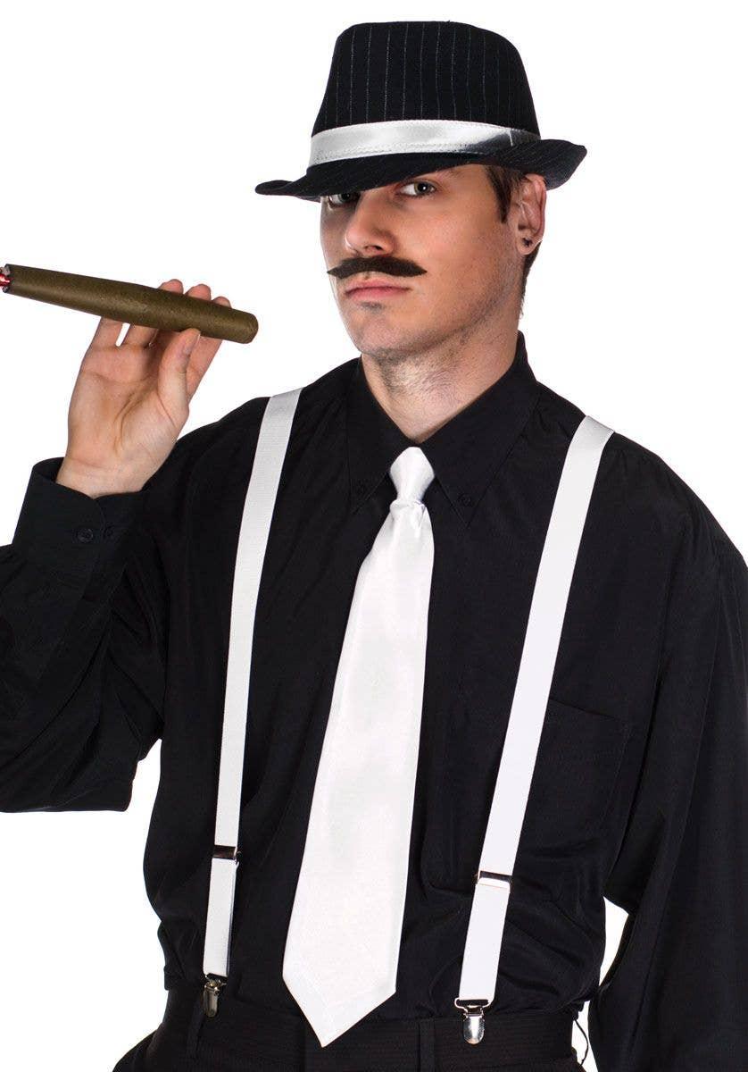 Roaring 20's White Gangster Costume Suspenders