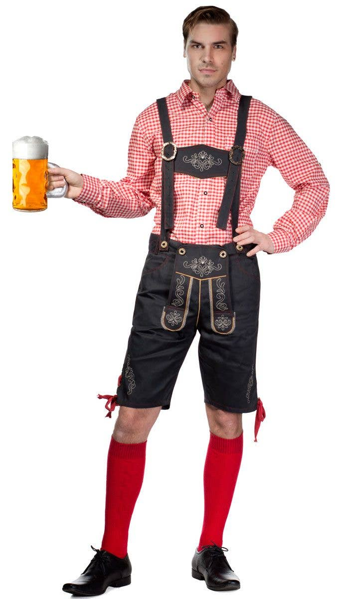 Menu0027s Red and Grey Lederhosen Oktoberfest Costume Front View  sc 1 st  Heaven Costumes & Red Checkered Menu0027s Oktoberfest Costume | Menu0027s Lederhosen Costume