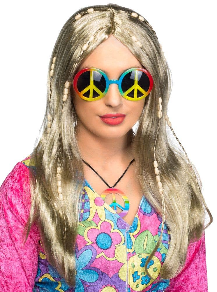 Womens Long Blonde Beaded Hippie Wig Costume Accessory - Main Image 474c9dcef4