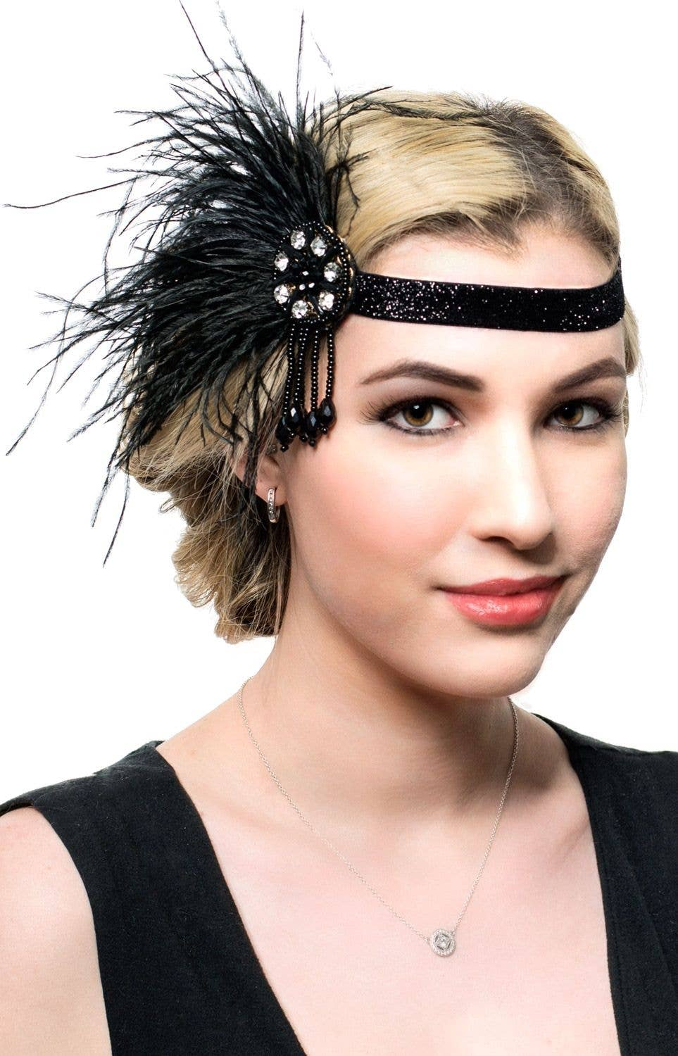 aa6ac4c7a27a Beaded Black Flapper Headband | Deluxe 1920's Black Gatsby Headband