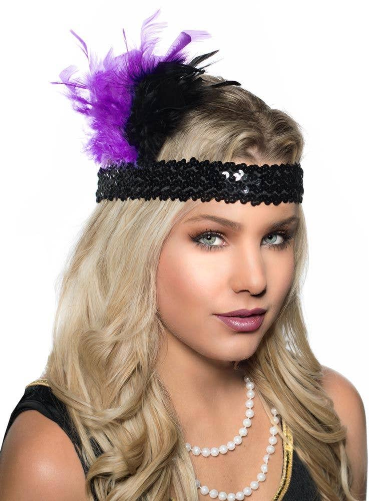 Flapper Headband With Sequins Black And Purple Feather