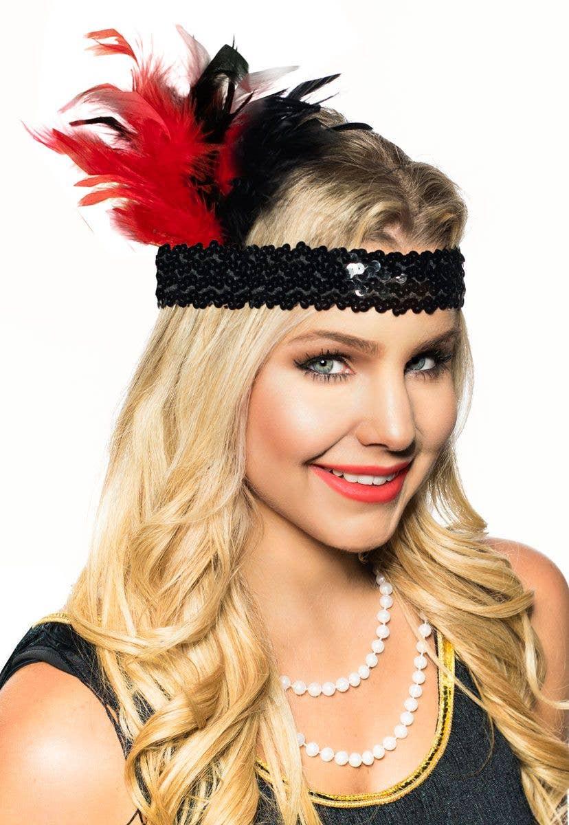 red and black feather flapper headband 1920 s gatsby headband