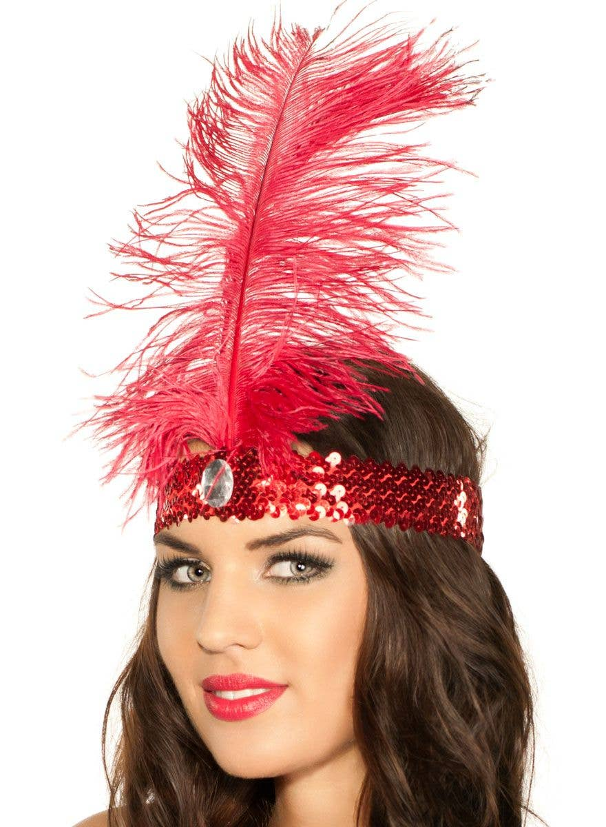 1920's Red Feather Flapper Headband