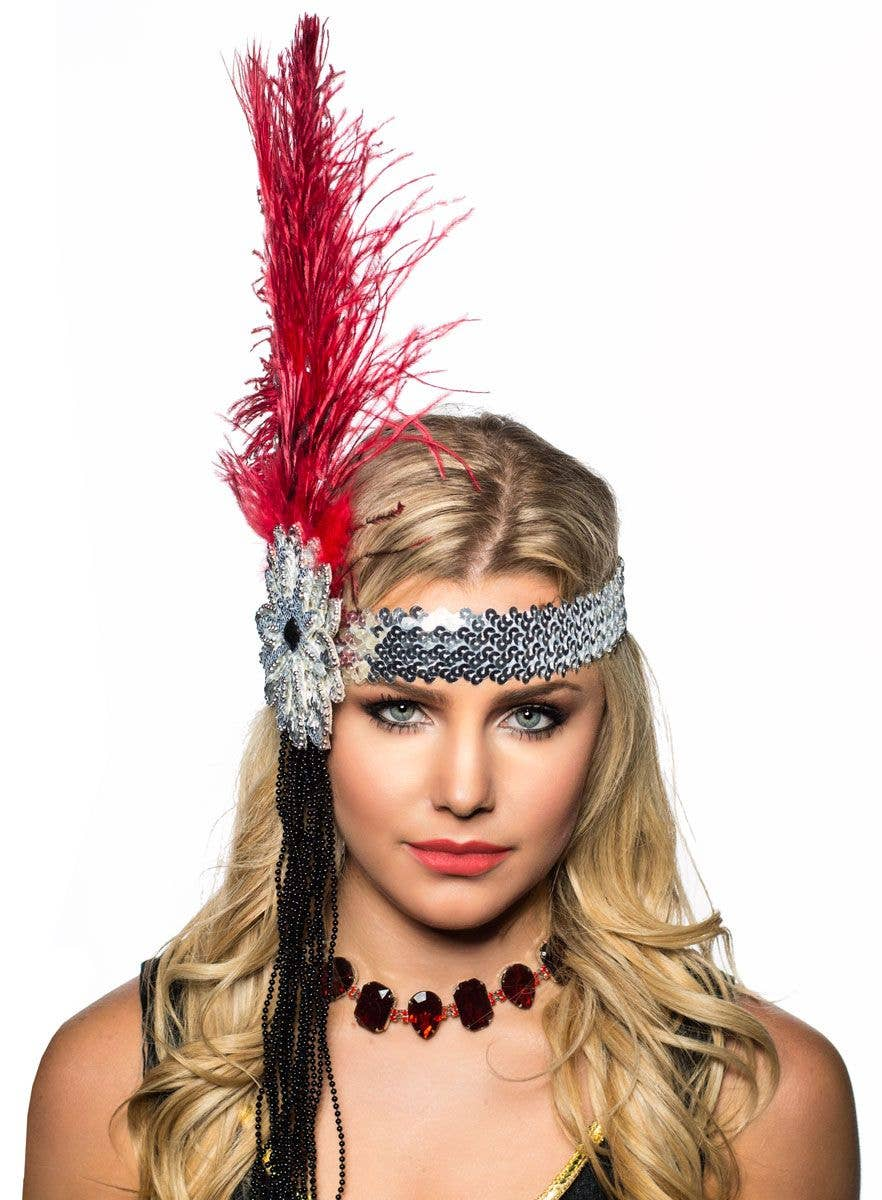 Tall Deep Red Feather and Beads Flapper Headband Headpiece Front View 9abe6b5be1b