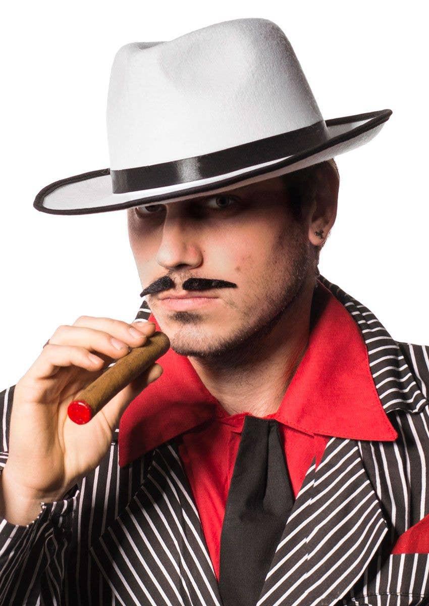 Men s White 1920 s Gangster Fedora Costume Hat View 1 b330676ae6d