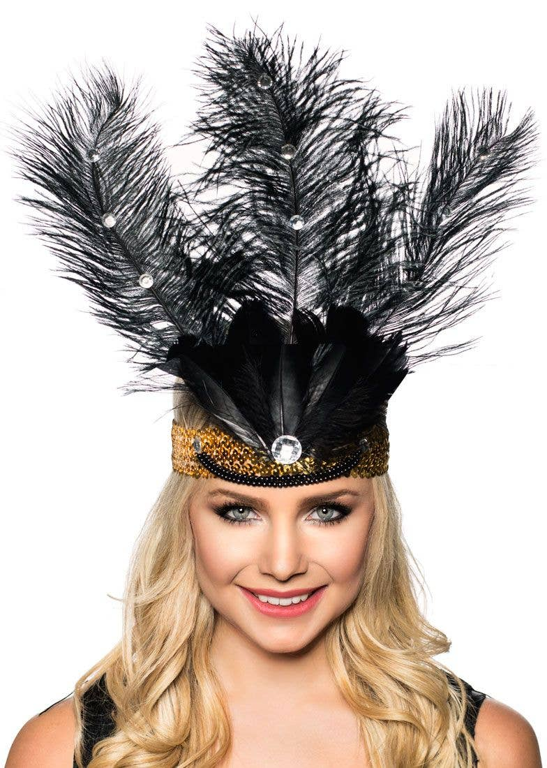 Tall Black Feather and Gold Showgirl Headband Main Image 5aeb3456a25d