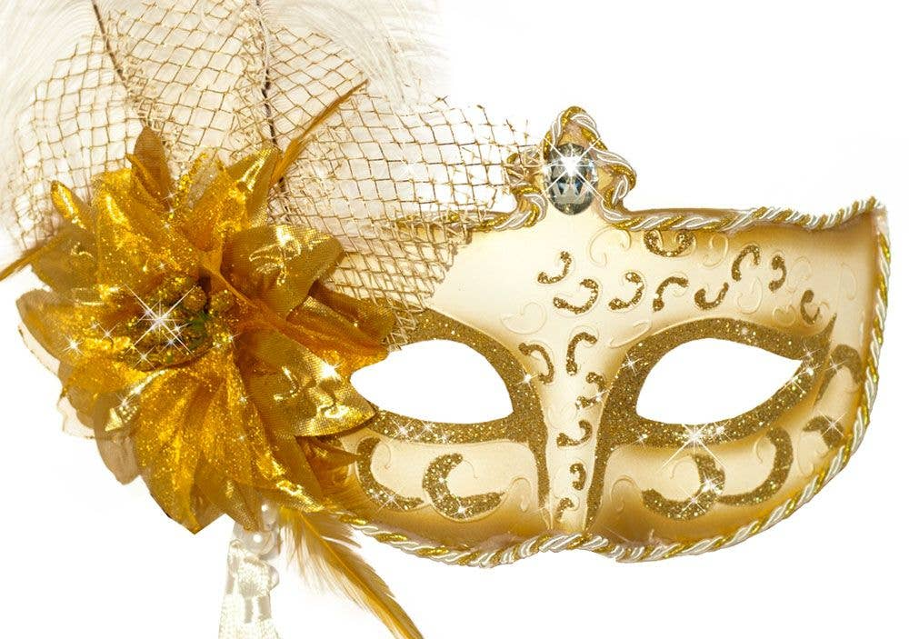 71fc48f99a Antoinette White and Gold Masquerade Mask