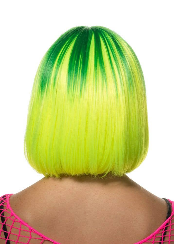 Eliza Yellow Amp Green Two Tone Deluxe Bob Wig Green And