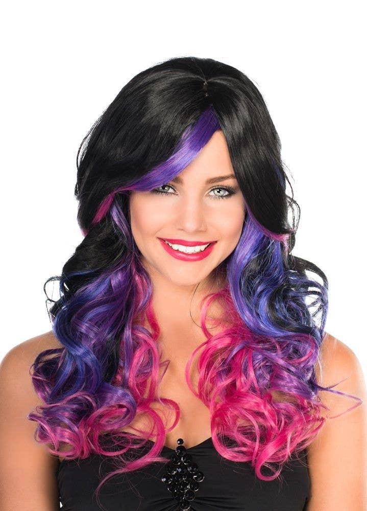 Black And Purple Fashion Wig Women S Ada Curly Black