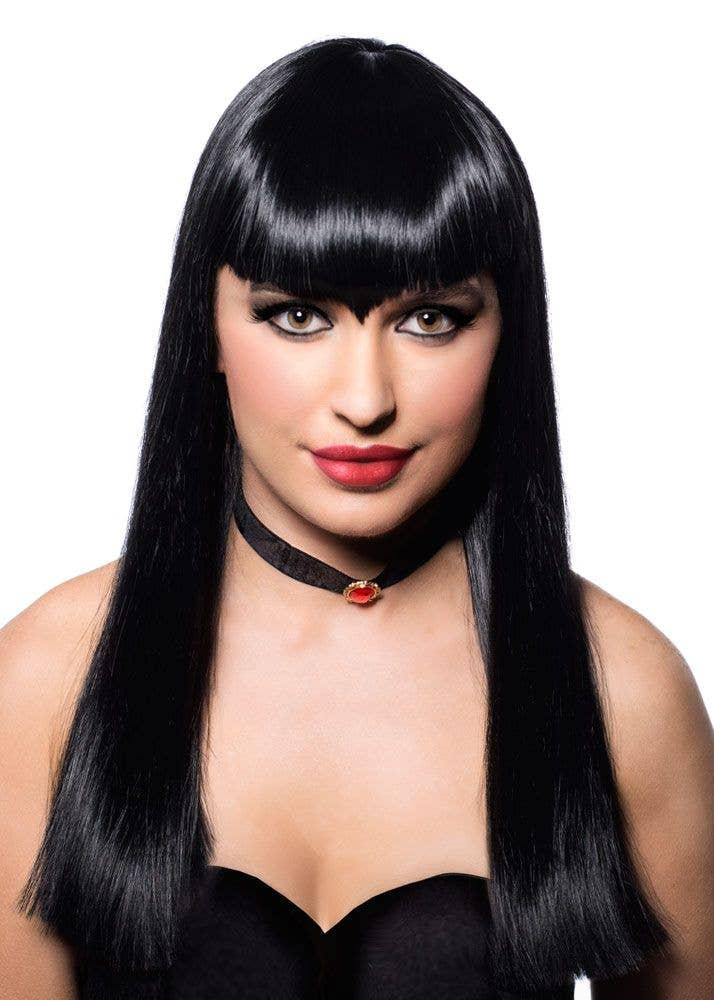 Deluxe Black Vampire Wig Straight Mid Length Black