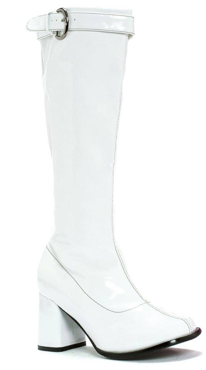 91d429904ee0 Women s White Vinyl Hippie Knee High Boots With 3