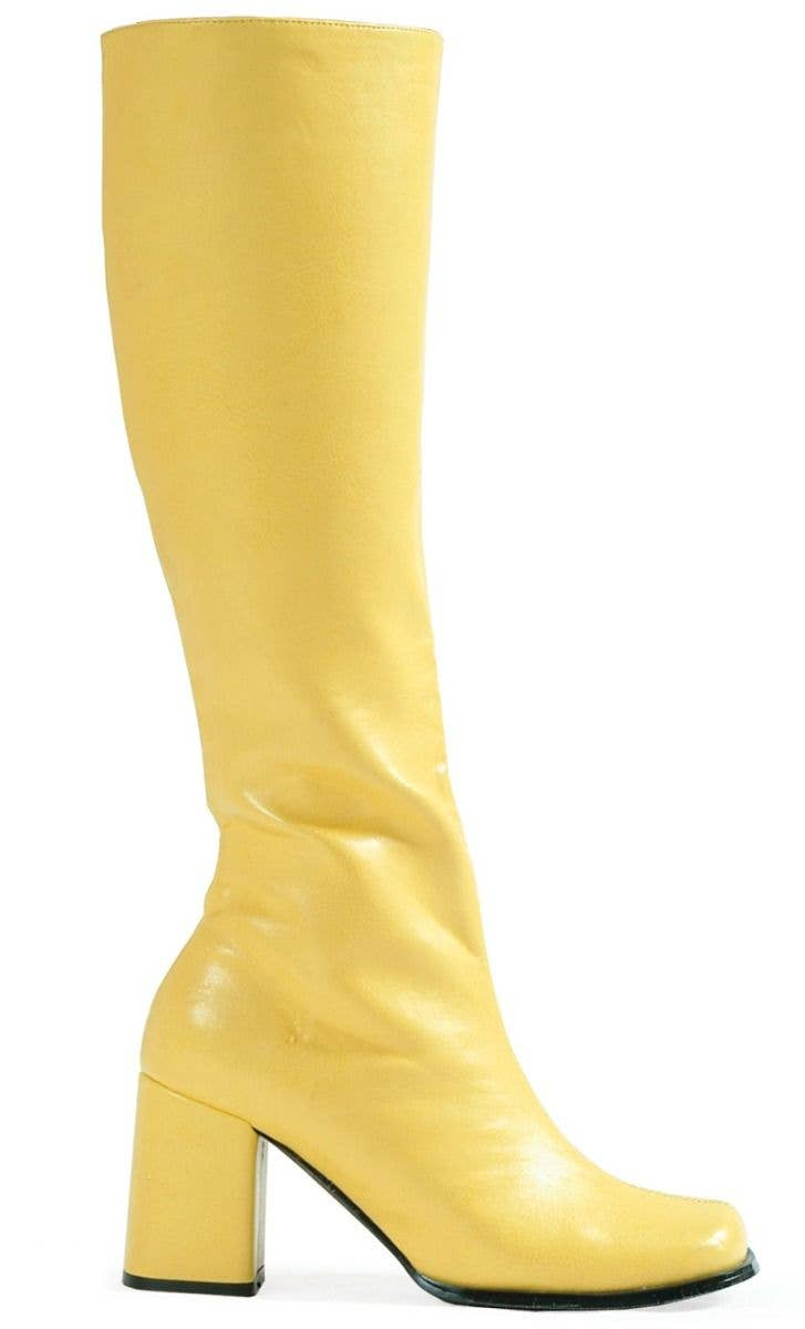 f97288c26f5 Women s Yellow Go Go Boots In Vinyl Retro Hippie Costume Shoes With 3