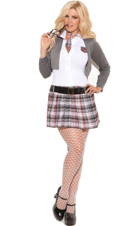 Queen of Detention Sexy Schoolgirl Plus Size Costume Front 6c060bde6662
