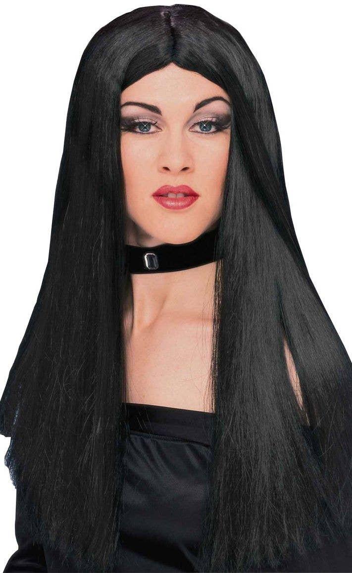 long straight morticia costume wig | women's cher black costume wig