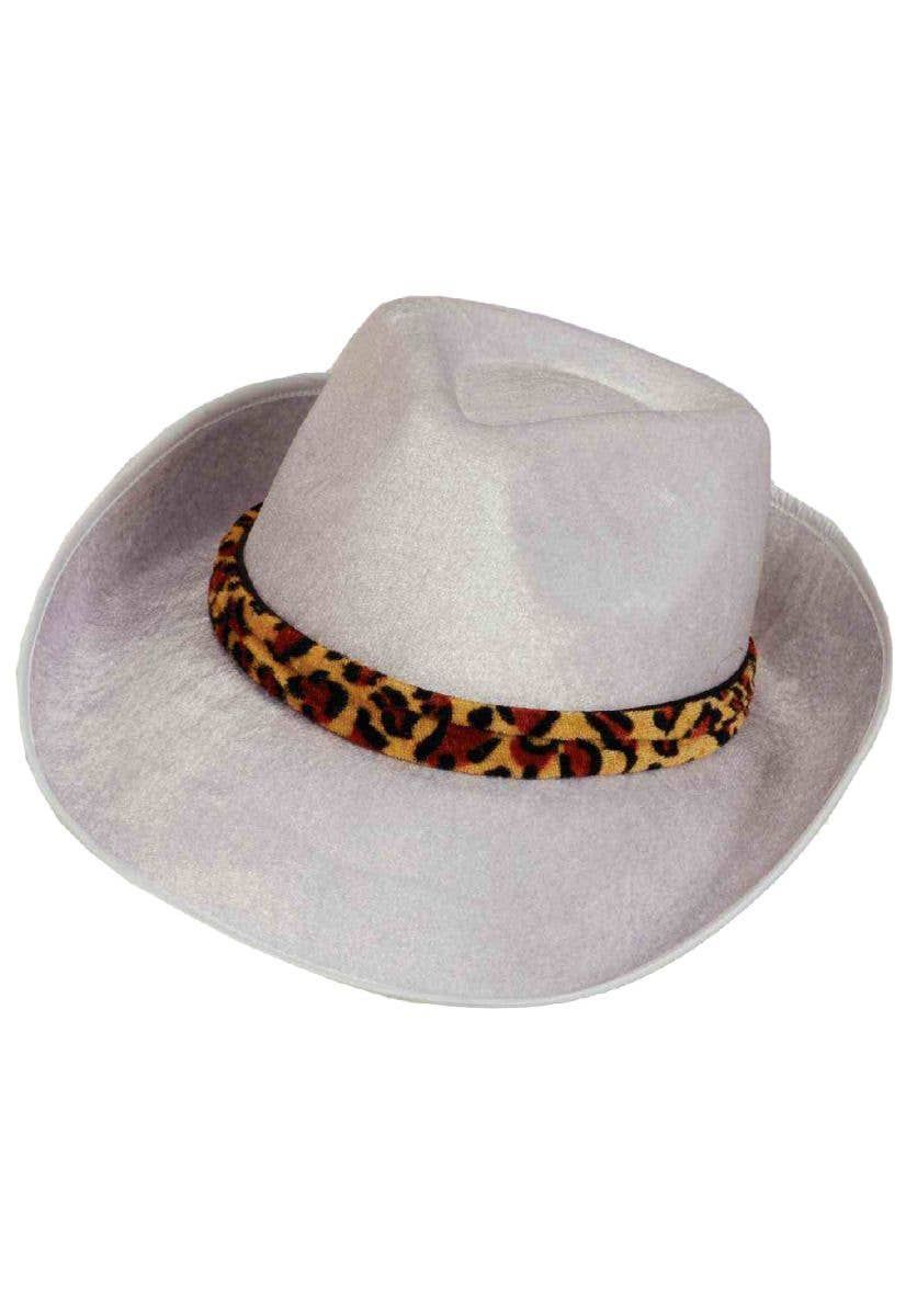 9066002f34fb3 Deluxe White Velour Costume Hat with Leopard Print Hat Band Main Image