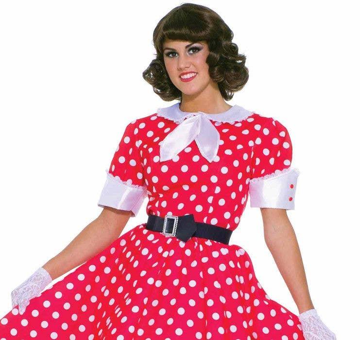 73eef78101407 1950's Housewife Women's Costume | Red Polka Dot 1950's Costume