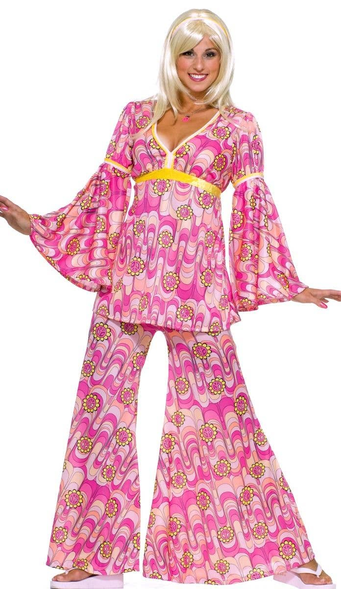 95687c2acad Flower Power Women s 1960 s Hippie Fancy Dress Costume Main Image