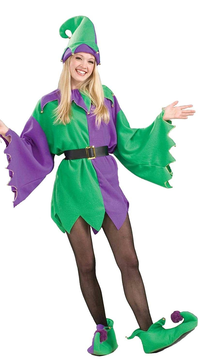 Christmas Elf Costume.Christmas Elf Adult S Unisex Purple And Green Costume