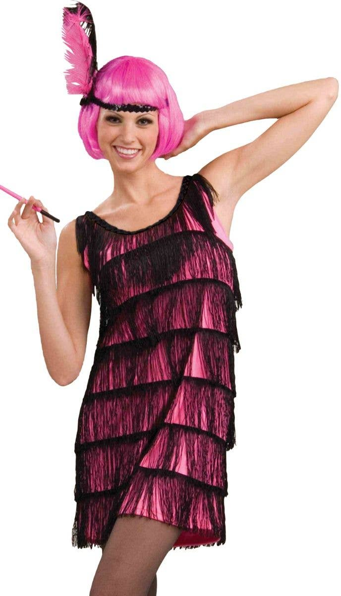 408e621c4cc3 Jazzy Pink and Black Fringed 1920's Women's Flapper Dress Fancy Dress  Costume Front