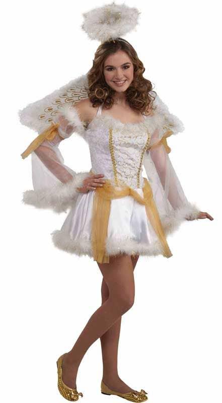 Teen Girls Golden Angel Christmas Costume Kid S