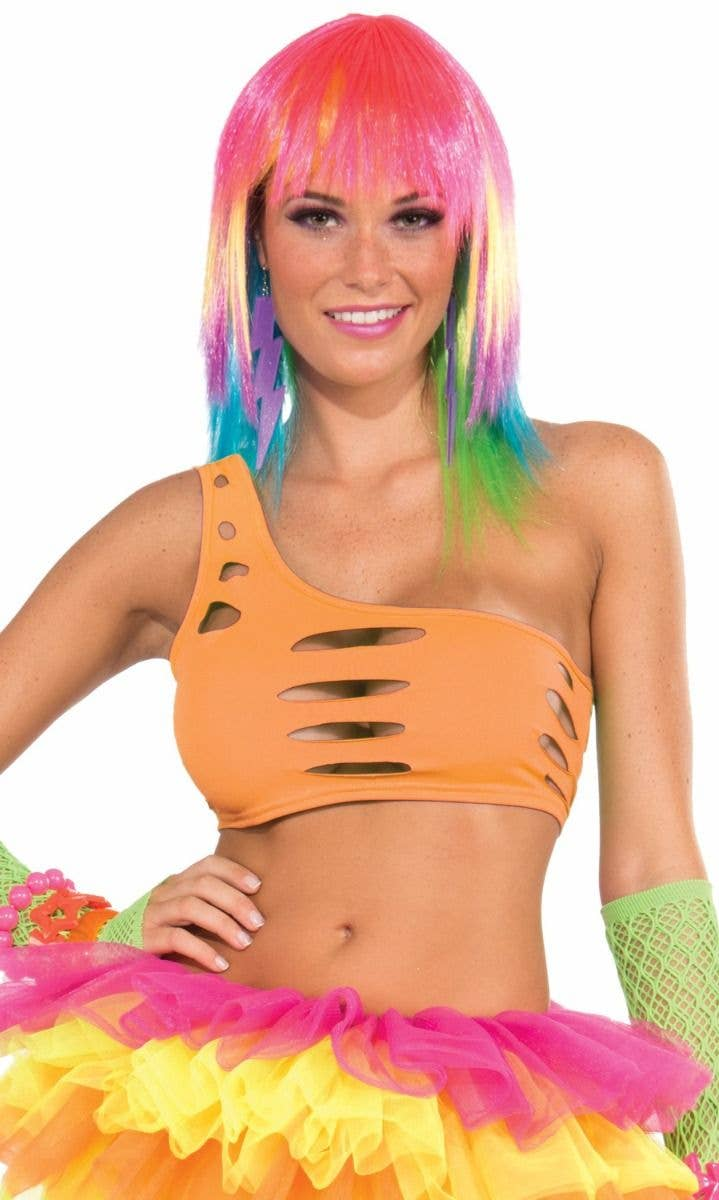 b0f413ee7843f Candy Club Neon Orange Cut out Bra Top Main Image