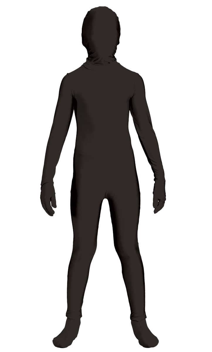 e0342d563184d7 Boys Full Black Body Suit Second Skin Halloween Costume Front View Image