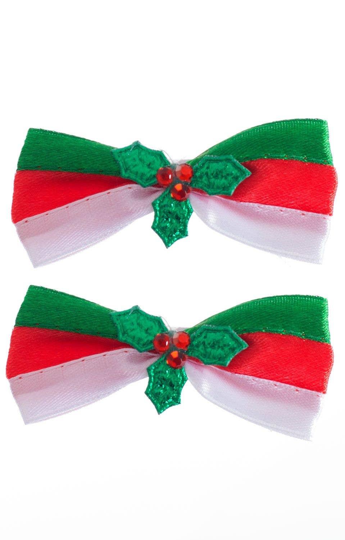 Christmas Hair Clips.Striped Christmas Bow Hair Clips