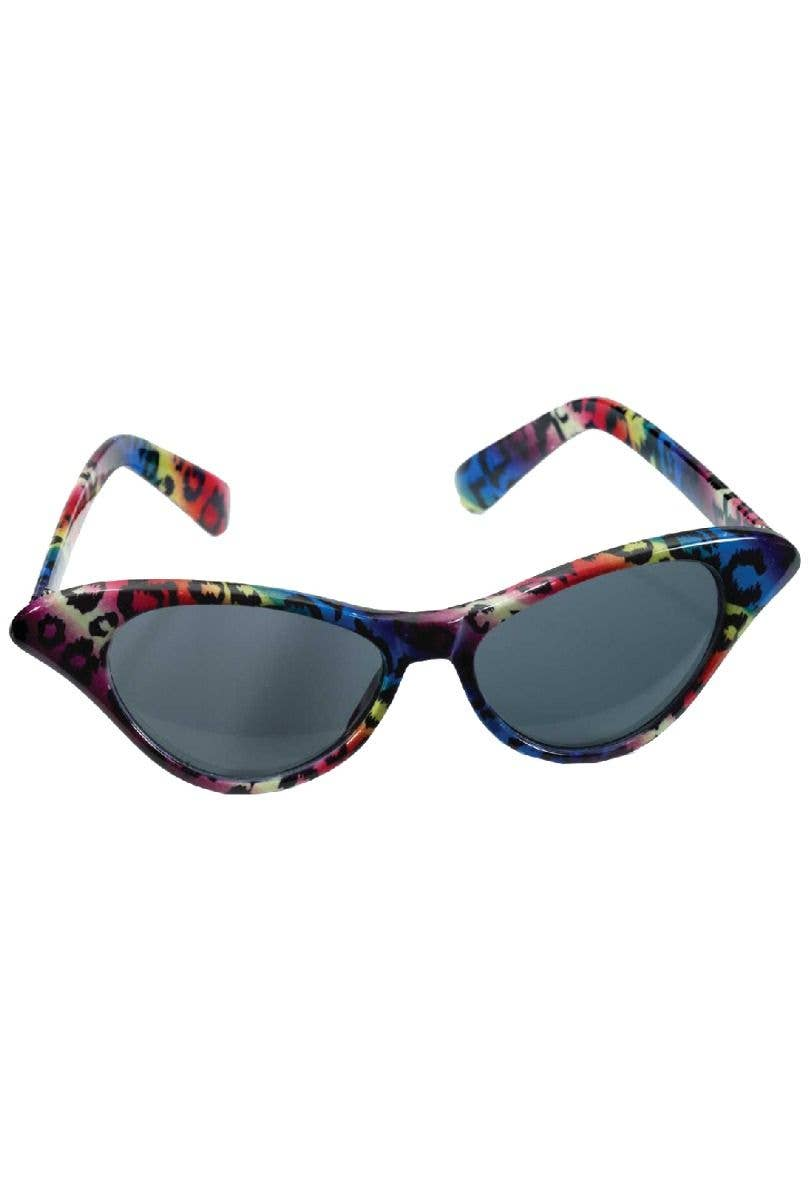 0633ba5da74 Forum Novelties FN-73036 rainbow leopard print cat eye 80s costume glasses  - Main Image