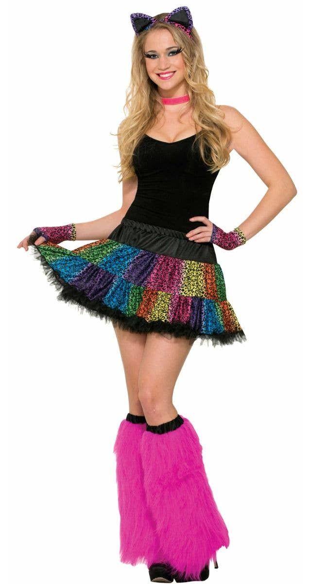 34764aff6f Bright Neon Rainbow And Black Leopard Print Costume Skirt 1980 s Retro  Theme Costume Accessory Main Image