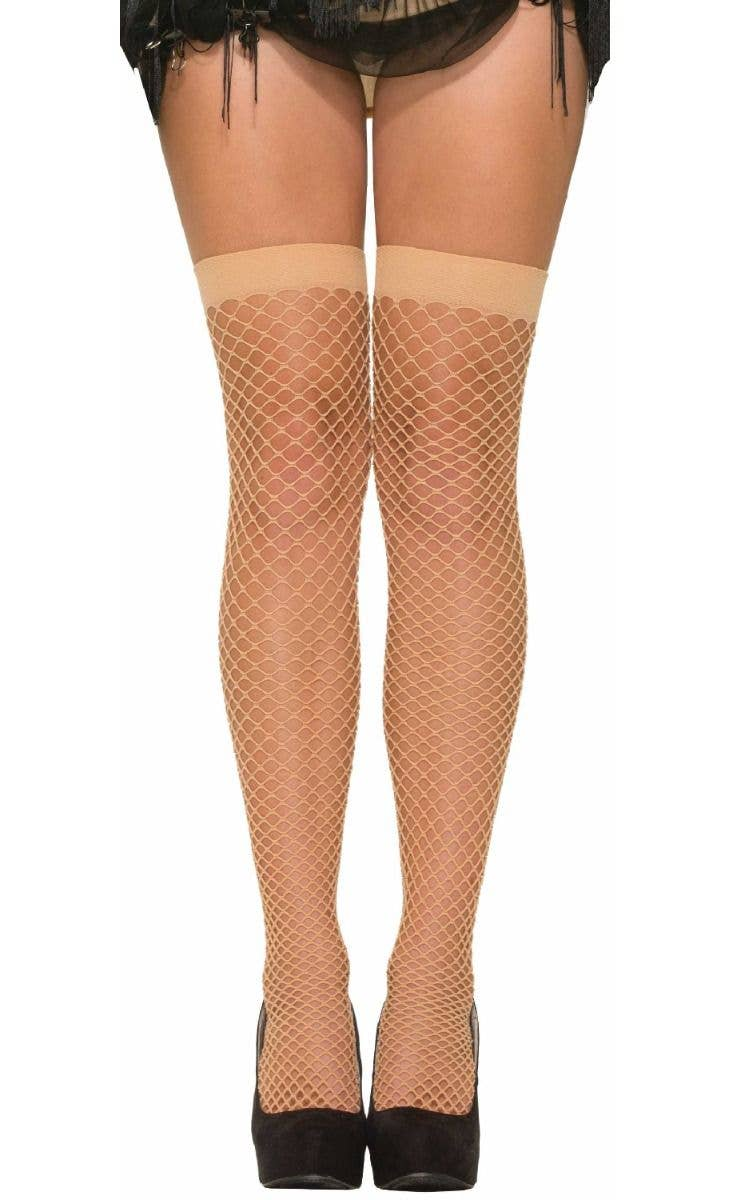 bfb2c861edd Forum Novelties womens 1920s nude fishnet thigh high stockings with  backseam - Main Image