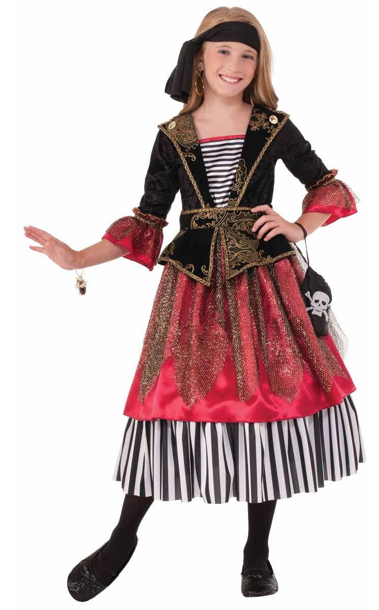 Pirate Wench Girlu0027s Buccaneer Costume Front View  sc 1 st  Heaven Costumes & Girls Caribbean Pirate Costume | Deluxe Red Pirate Kids Costume