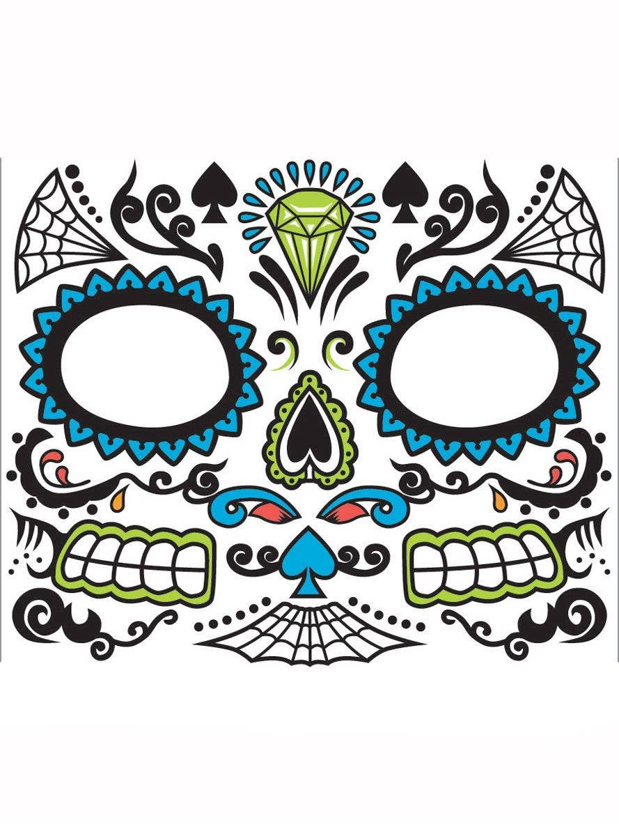 6df7ab5456c7c Blue Sugar Skull Men's Face Makeup | Mexican Temporary Face Tattoo