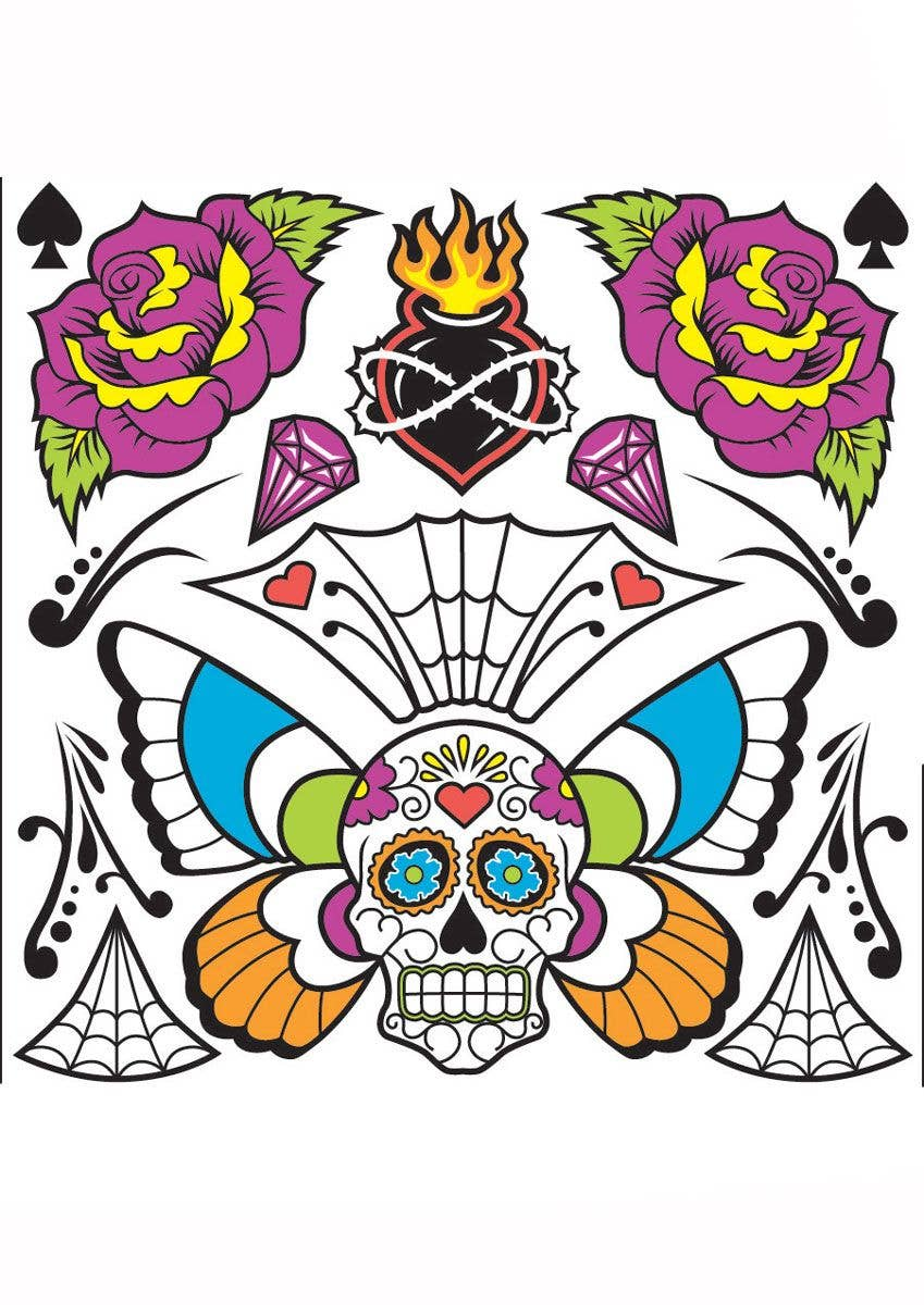Novelty Day Of The Dead Body Tattoos Temporary Mexican Tattoos