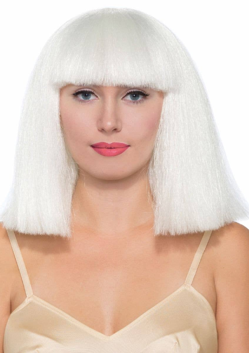 Forum Novelties Womens short white blonde sia inspired bob wig with fringe  - Main Image 3d53d671b