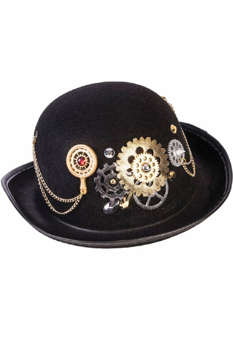 623b908afd6b6 Deluxe Black Steampunk Adults Bowler Costume Hat Main Image