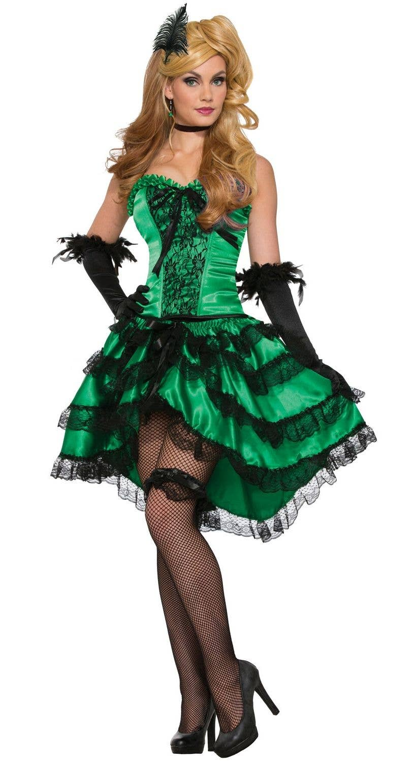 Emerald Green Wild West Saloon Can Can Girl Fancy Dress Costume Main Image