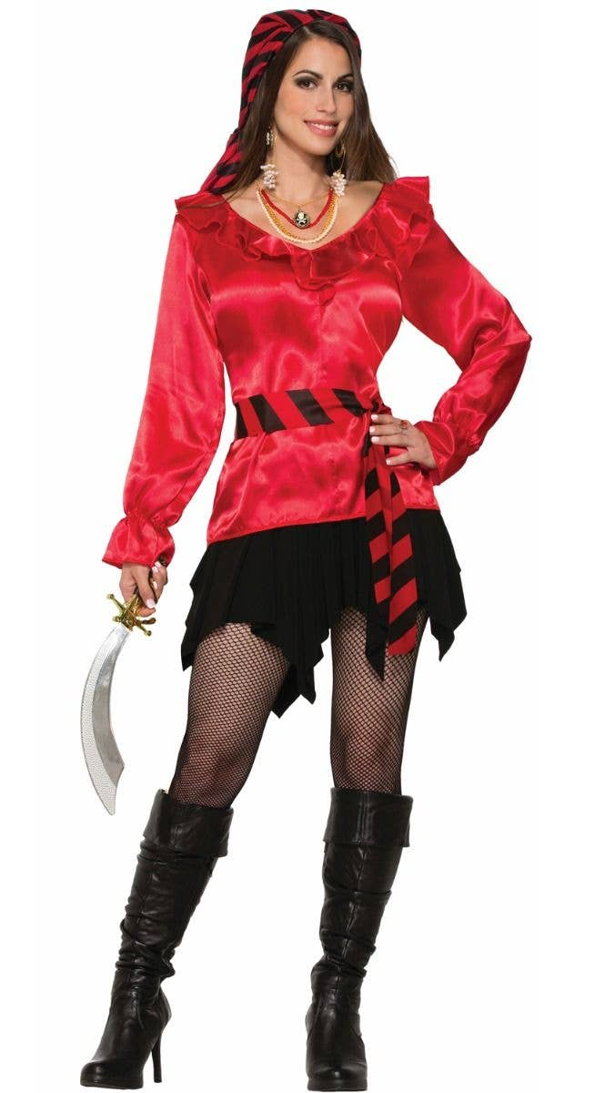 Women S Red Satin Pirate Shirt Pirate Costume Blouse Accessory
