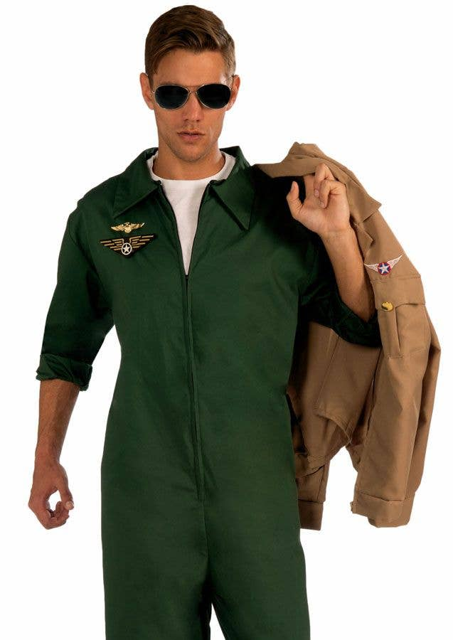 Men s Green Top Gun Flight Suit Costume Jumpsuit Close 1095945e0