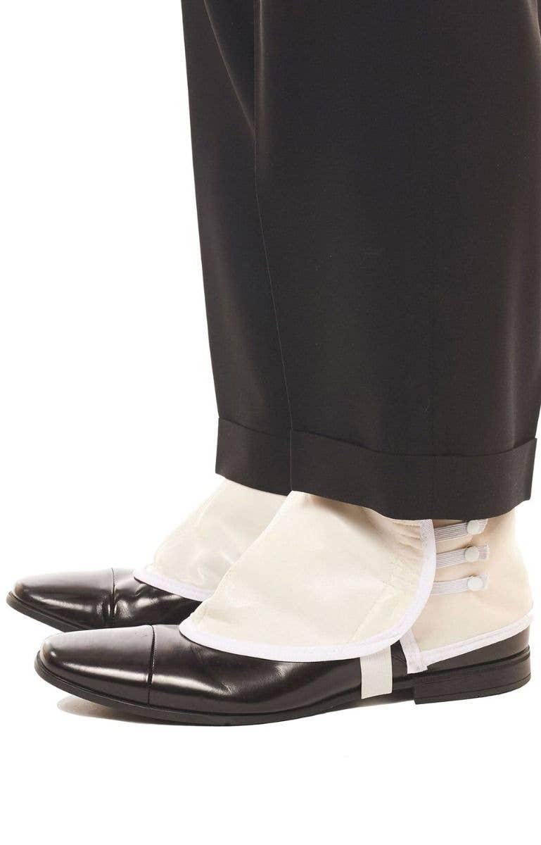 aa27df1d4c91 Men s White Vinyl 1920 s Gangster Shoe Spats Costume Accessory
