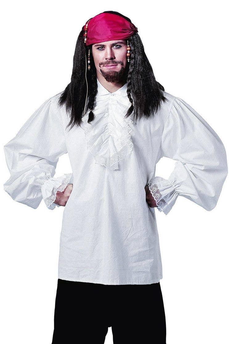 Menu0027s Ruffled White Pirate Costume Shirt  sc 1 st  Heaven Costumes & Swashbuckler Pirate Shirt | Ruffled White Pirate Costume Shirt